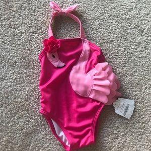 NWT 3-6 mo girls pink flamingo swim suit
